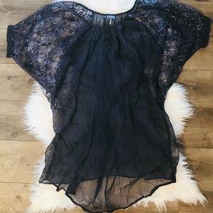 ANTHRO sparkle & fade lace button blouse medium